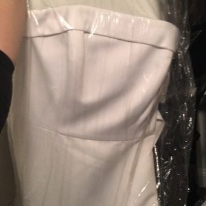 White satin gown with train davids bridal new